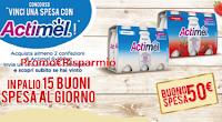 Logo Danone ''Vinci una spesa con Actimel'': in palio ogni giorno 13 buoni spesa Coop da 50€