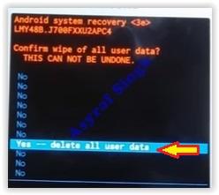yes delete all user data