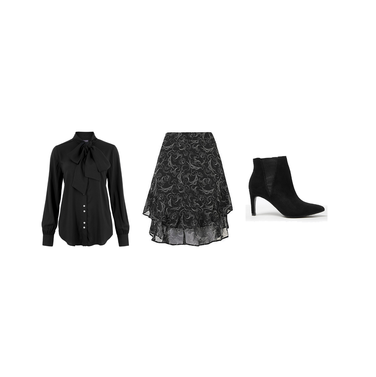 my midlife fashion, marks and Spencer party wear, party wear, marks and Spencer long sleeve blouse, marks and Spencer printed ruffle a line mini skirt, marks and Spencer stiletto heel Chelsea ankle boots