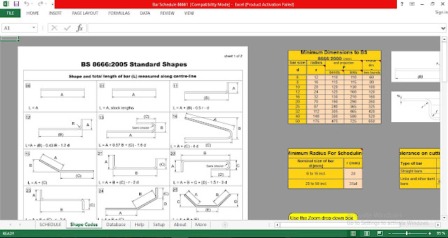 Bar bending schedule for Building Reinforcement Spreadsheet