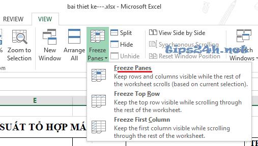 Cố định menu tiêu đề trong excel 2010 và 2013