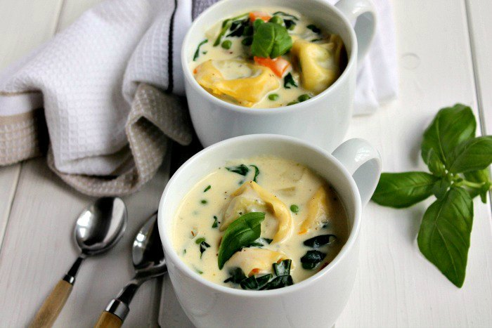 Mugs of tortellini soup