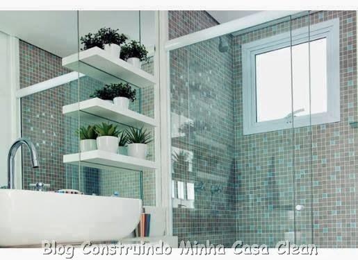 Construindo Minha Casa Clean 30 Dicas de Banheiros e Lavabos Decorados e Mod -> Nicho Para Banheiro Toalhas