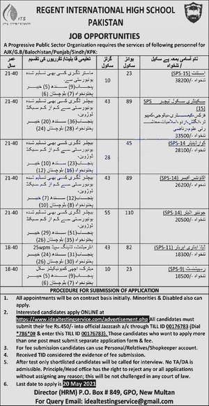Latest Today Regent  High School Jobs 2021 in Pakistan Through ITS