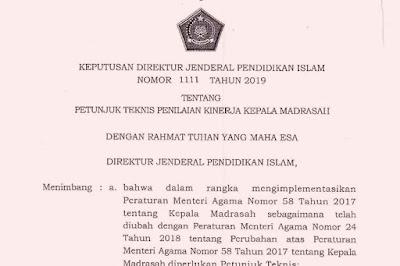 Juknis Penilaian Kinerja Kepala Madrasah Tahun 2019