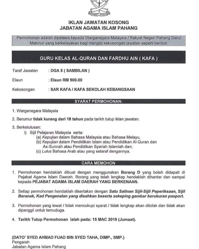 Kerja Kosong Pantai Timur Guru Kafa Pahang