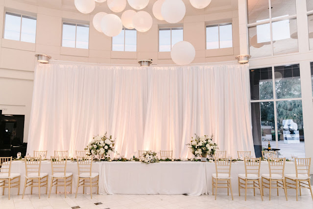 wedding reception tables with pipe and drape