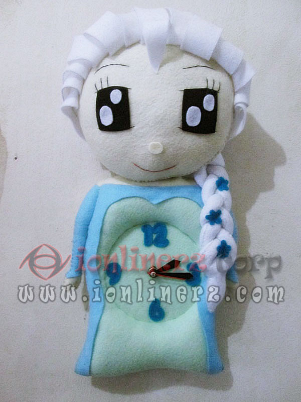 Jam Dinding Flanel Karakter Kartun Boneka Elsa Frozen