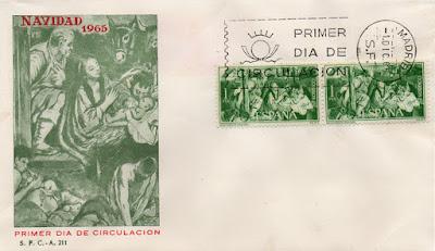 Sobre PDC del sello de Navidad  1965 de la obra de Juan Bautista Maíno Adoración de los Pastores