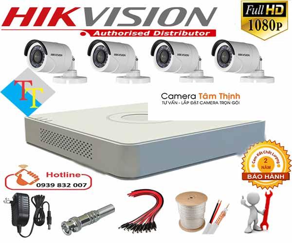 trọn bộ 4 camera hikvision