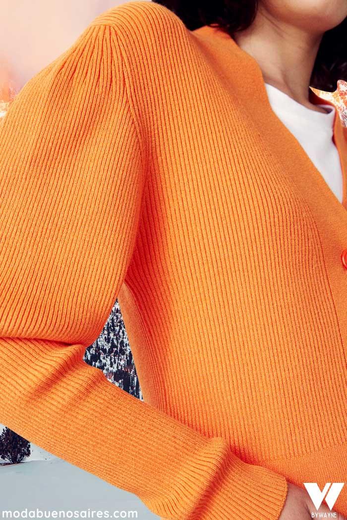 saquito naranja tejido para mujer invierno 2021