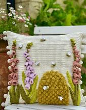 Foxgloves and Bees cushion