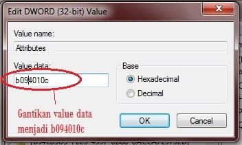 Edit DWORD value datanya dari b084010c menjadi b094010c