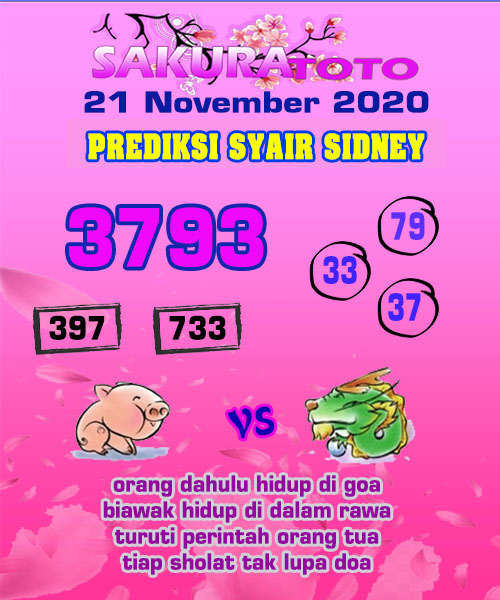 Syair Sakuratoto Sidney Sabtu 21 November 2020
