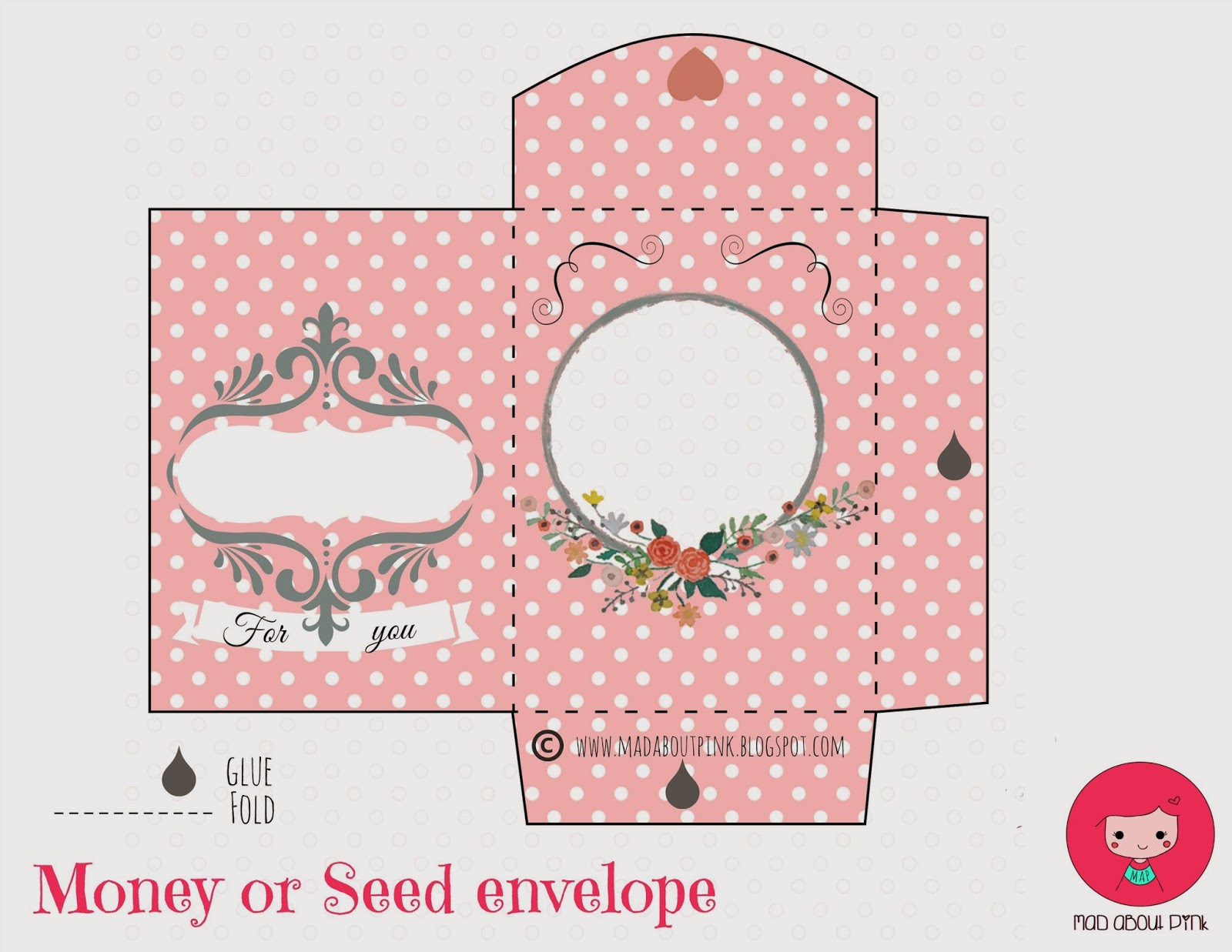 Mad about pink lovely money or seed envelope free printable for Free templates for envelopes to print