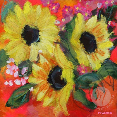 Sunflower painting by Merrill Weber