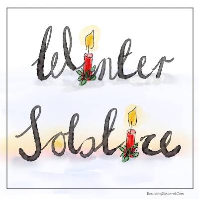 Winter solstice illustraiton with the i letters in the word as candles and a sunrise as the o.