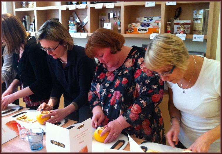Food bloggers segmenting grapefruit