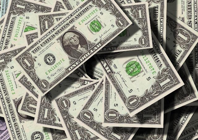 Lots of dollar bills, money