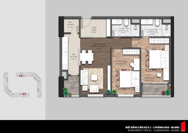 Thiết kế căn A1 - 80,8m2 chung cư The Emerald