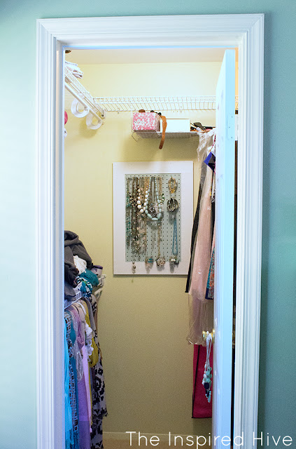 BEFORE- A master bedroom closet gets an easy update with girly details and a few DIY ideas.