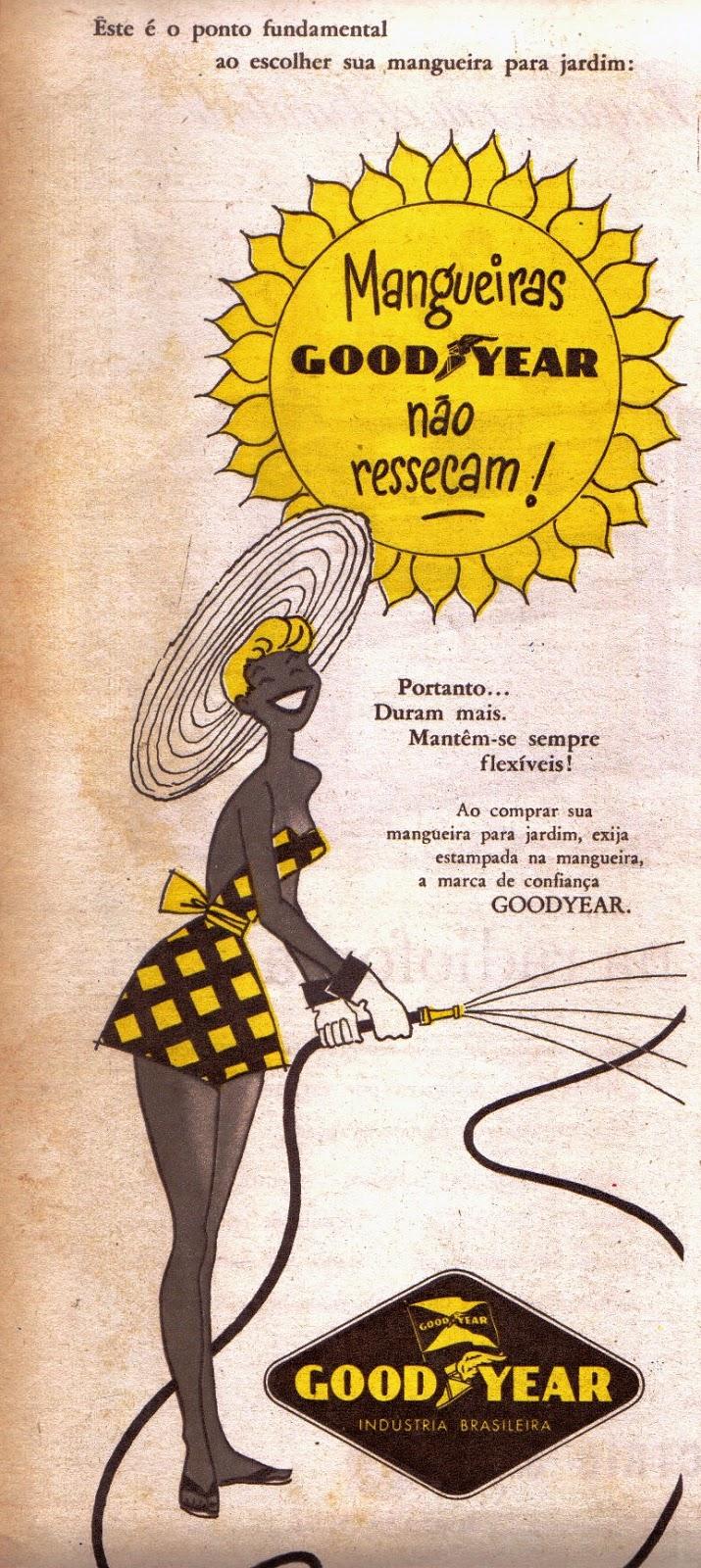 Propaganda antiga da Goodyear promovendo sua linha de mangueiras em 1954