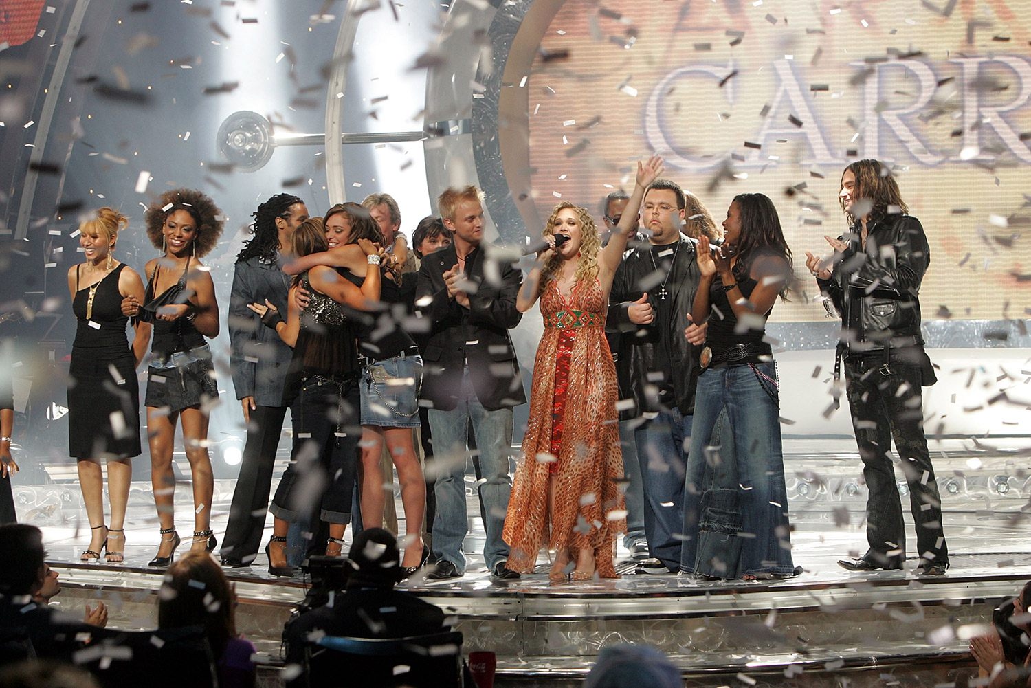 Carrie Underwood (center) on American Idol in 2005 KEVIN WINTER/GETTY IMAGES