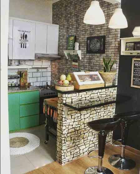 dapur rumah minimalis type 45 batu alam