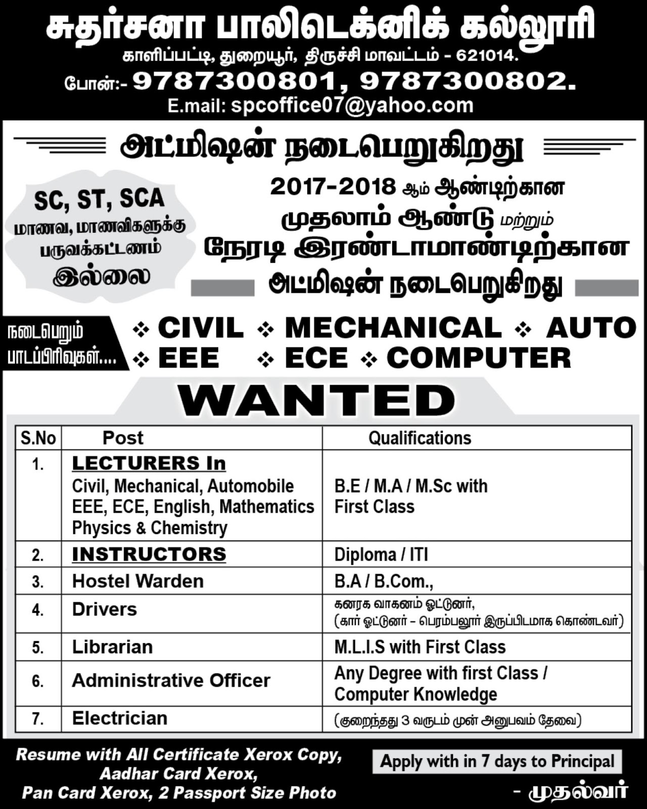 Sudarshana Polytechnic College, Trichy, Wanted Lecturers Plus Non ...