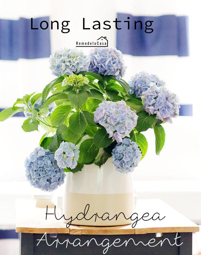 blue hydrangea bouquet on coffee table