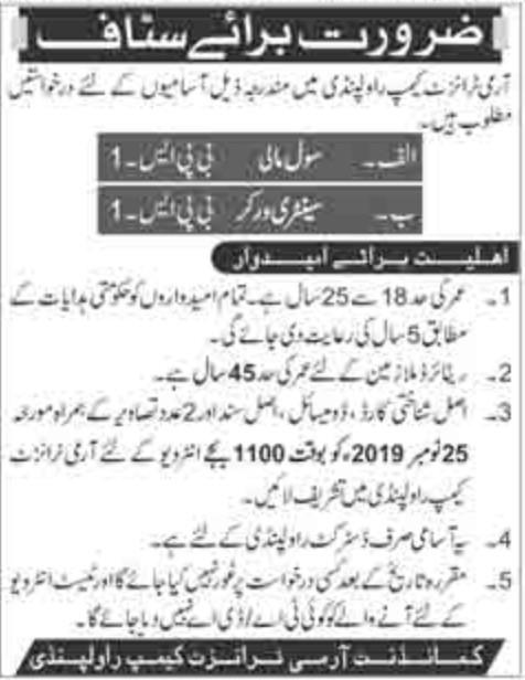 Jobs in army transit camp Rawalpindi