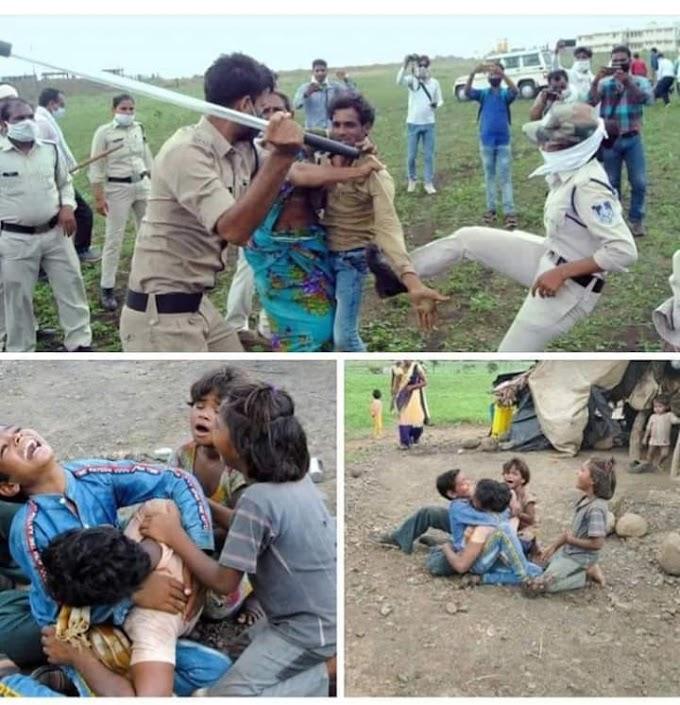 मध्य प्रदेश मध्ये एक दलित शेतकरी परिवाराला पोलिसां कडून मारहाण.