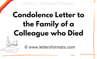 Condolence Letter to Family of Colleague who Died