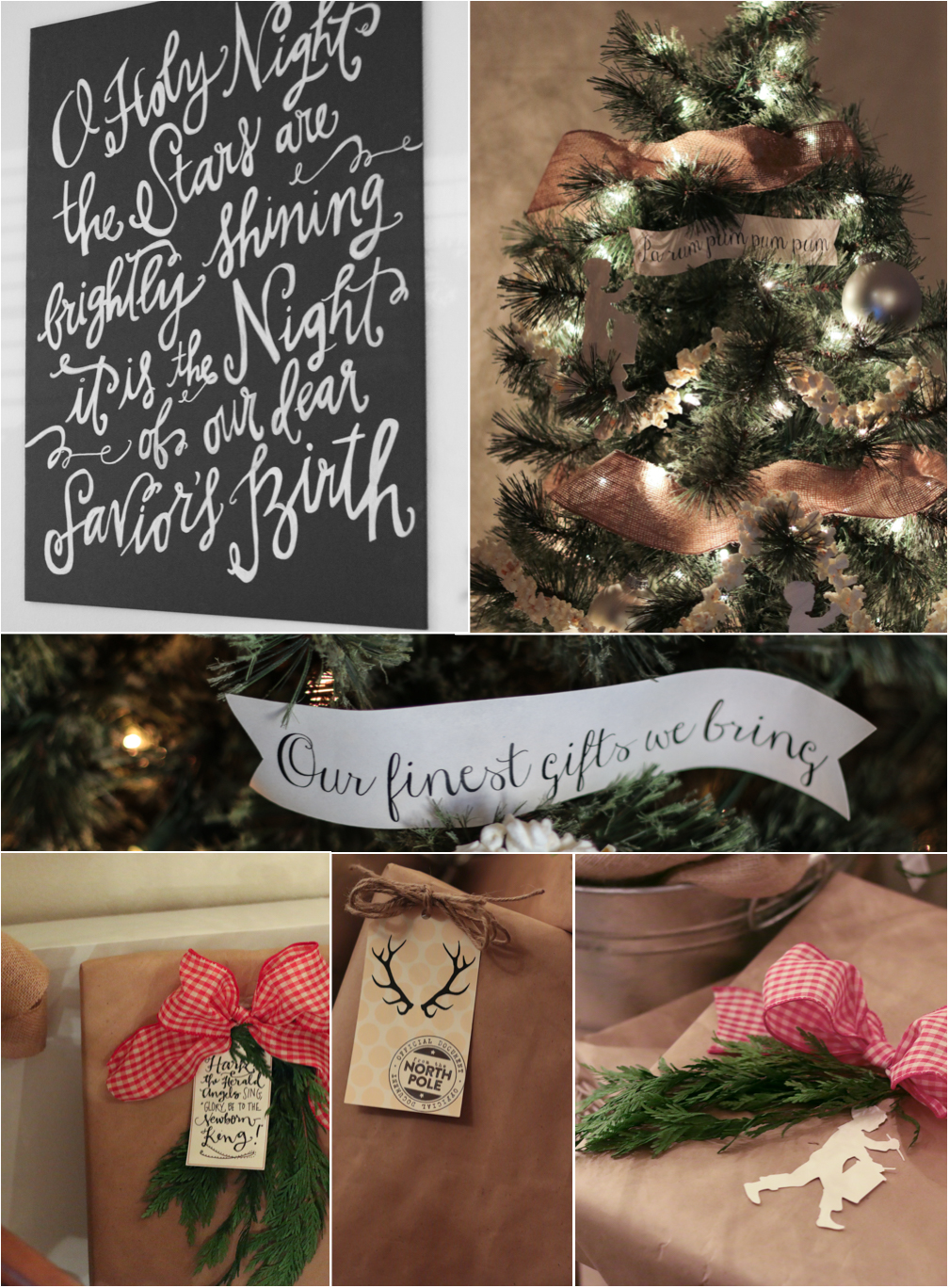 Burlap and Silhouette Christmas tree decorations