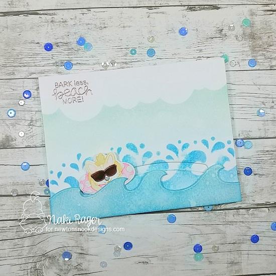 Summer Beach Corgi Dog Card by Naki Rager   Corgi Beach Stamp Set, Sea Borders Die Set and Waves & Splashes and Clouds Stencils by Newton's Nook Designs #newtonsnook #handmade
