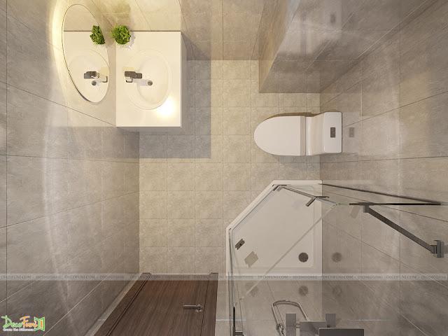 Thiết kế và thi công từ xây dựng thô cho đến hoàn thiện nội thất căn hộ chung cư Saigon South Residences Phú Mỹ Hưng - SSR - Restroom phòng Master