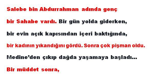 hikaye, dini hikaye, kıssa, asrı saadet, hz Muhammed, Salebe bin Abdurrahman, göz zinası, zina, hz Ömer, hz. Selman,