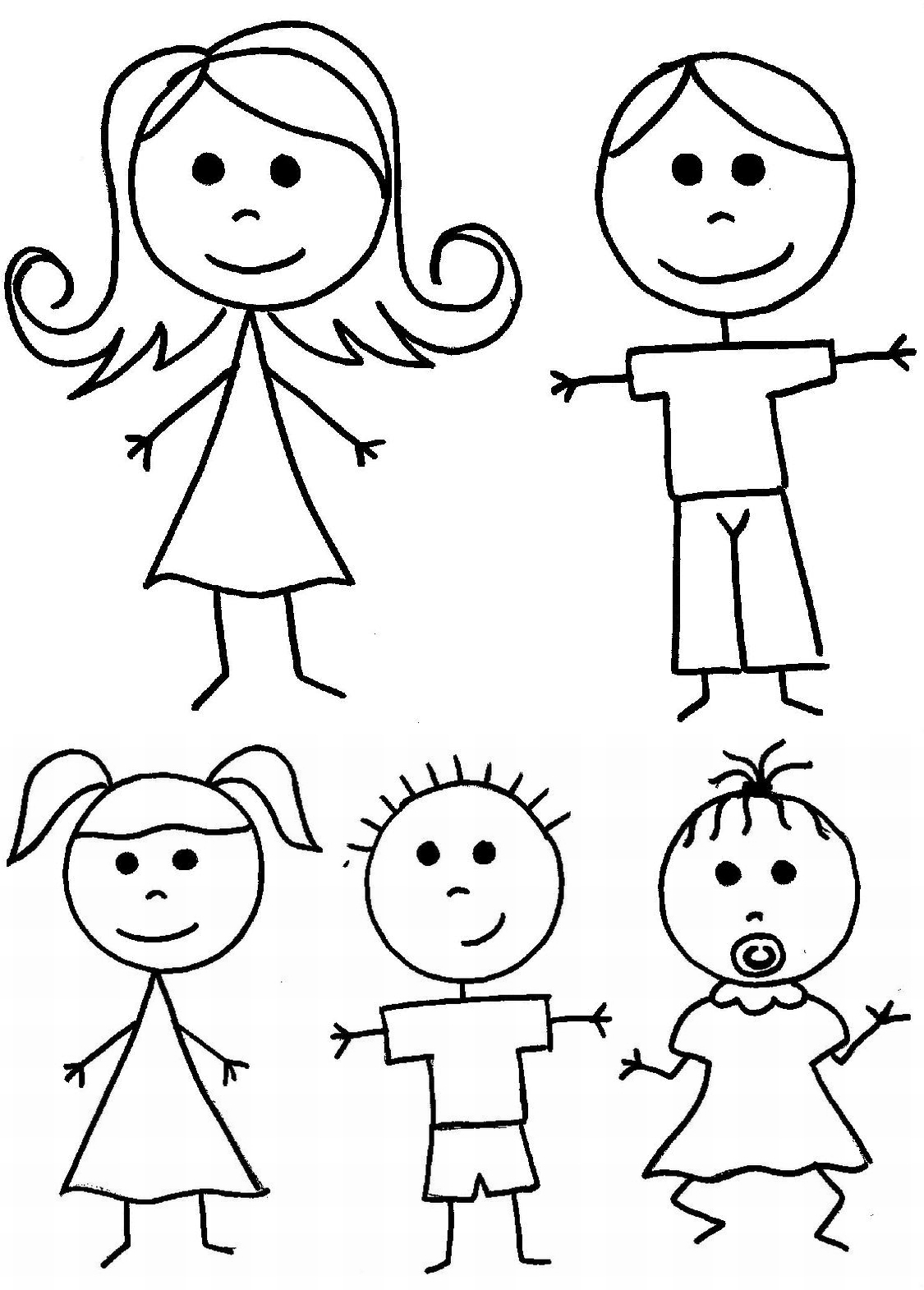 Free coloring pages of stickman family