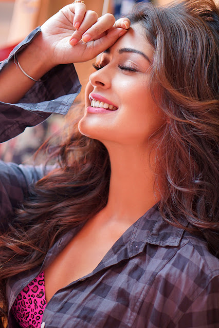 Payal Rajput Latest Photos in Black Check Shirt Actress Trend