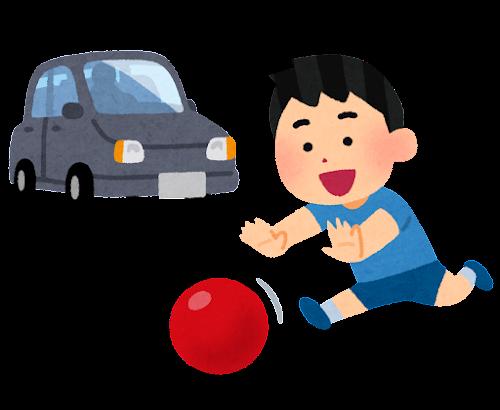 車の近くでボール遊びをする子供のイラスト
