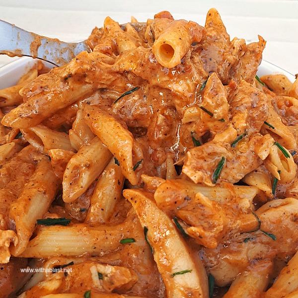 20 Minute Spicy Chicken Pasta dinner