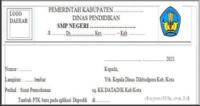 Surat Permohonan Penambahan PTK Baru Dapodik jenjang PAUD ...
