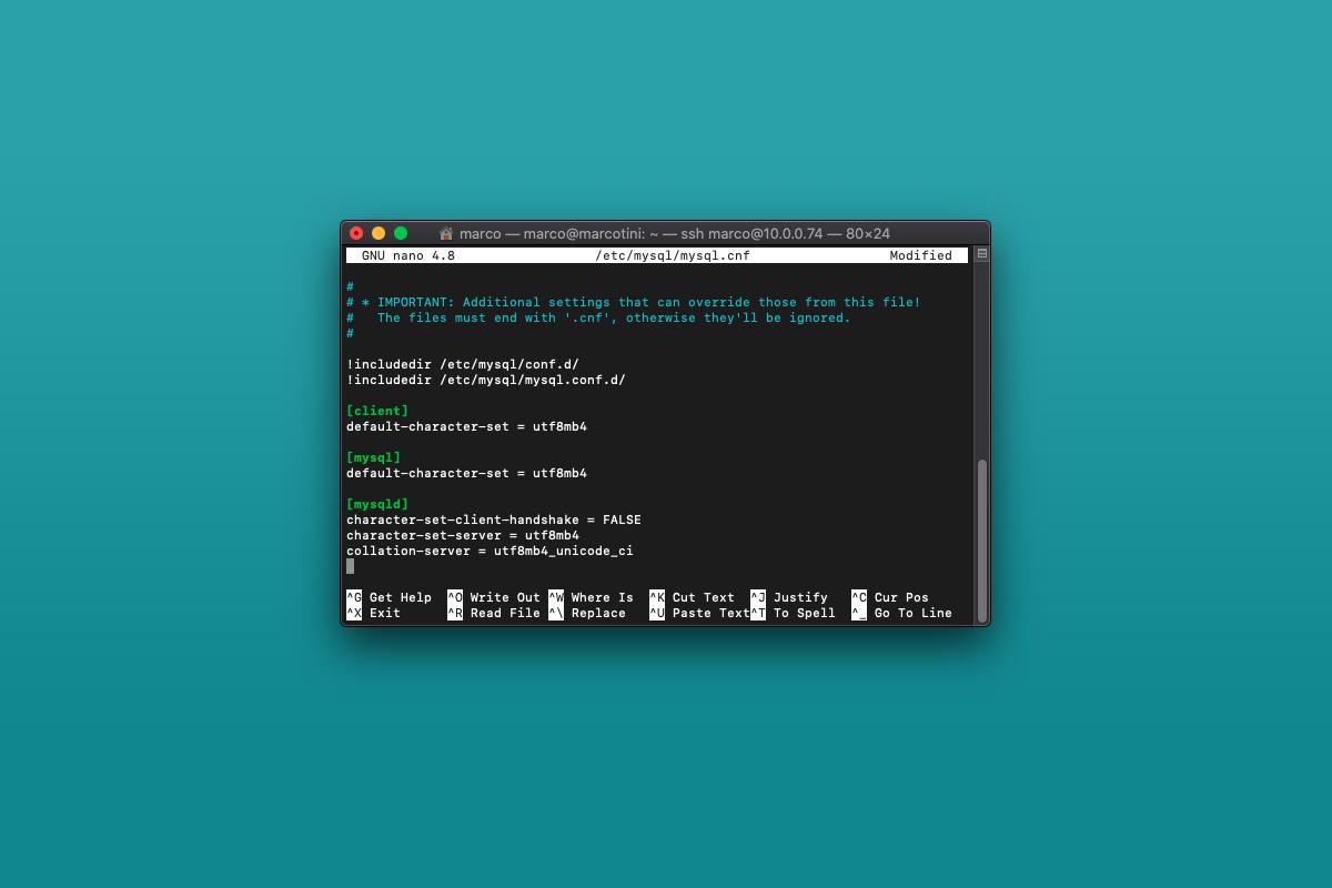 Come rendere MySQL compatibile con utf8mb4