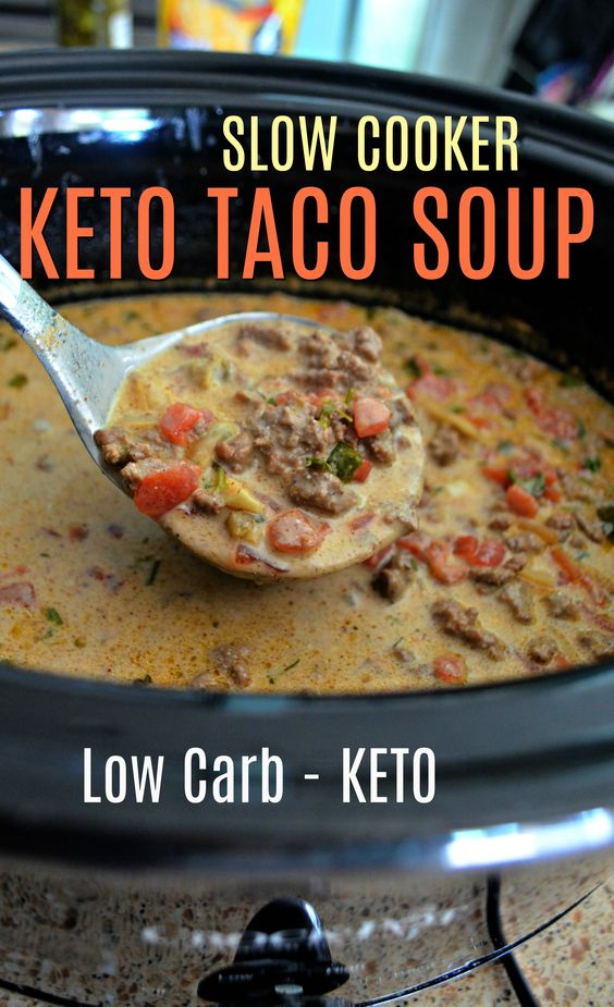 Easy Slow Cooker Keto Taco Soup | THER ES A FOOD