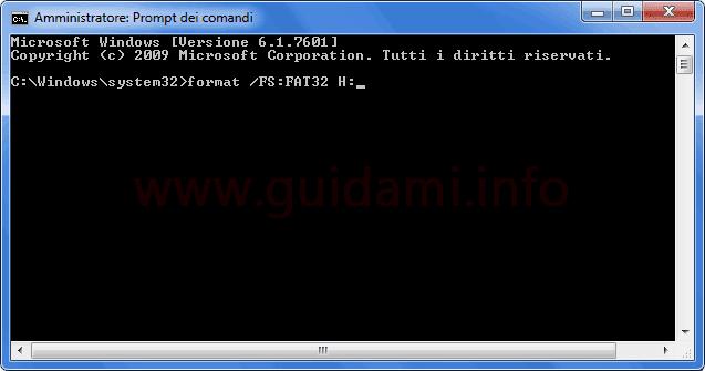 Comando per formattare unità USB dal Prompt dei comandi di Windows
