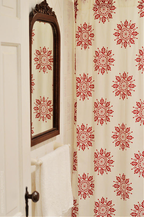 Cottage Style Bathroom With Red and White Floral Shower Curtain