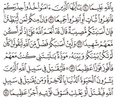 Tafsir Surat An-Nisa Ayat 71, 72, 73, 74, 75