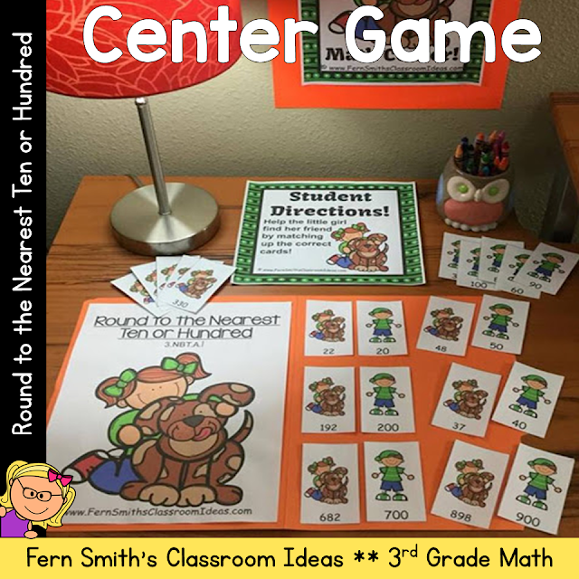 Looking to add some excitement to your center time? These highly engaging center games are quick and easy to prep and can be used for a variety of games, concentration, match game, go fish, gin rummy, scoot, read the room, self checking, even perfect for assessments. Once your students play with this deck, many of my other Quick and Easy to Prep centers can be used for different skills and seasons. Your center time will run smoothly and with very little prep from you! Rounding to the Nearest Ten or Hundred - Rounding to the Nearest 10 or 100! Perfect for 3rd Grade Go Math Chapter One Lesson 1.2.  Rounding to the Nearest Ten or Hundred: Quick and Easy to Prep Center Game and Printable. Perfect for Rounding to the Nearest Ten or Hundred 3.NBT.A.1. {Rounding to the Nearest 10 or 100}