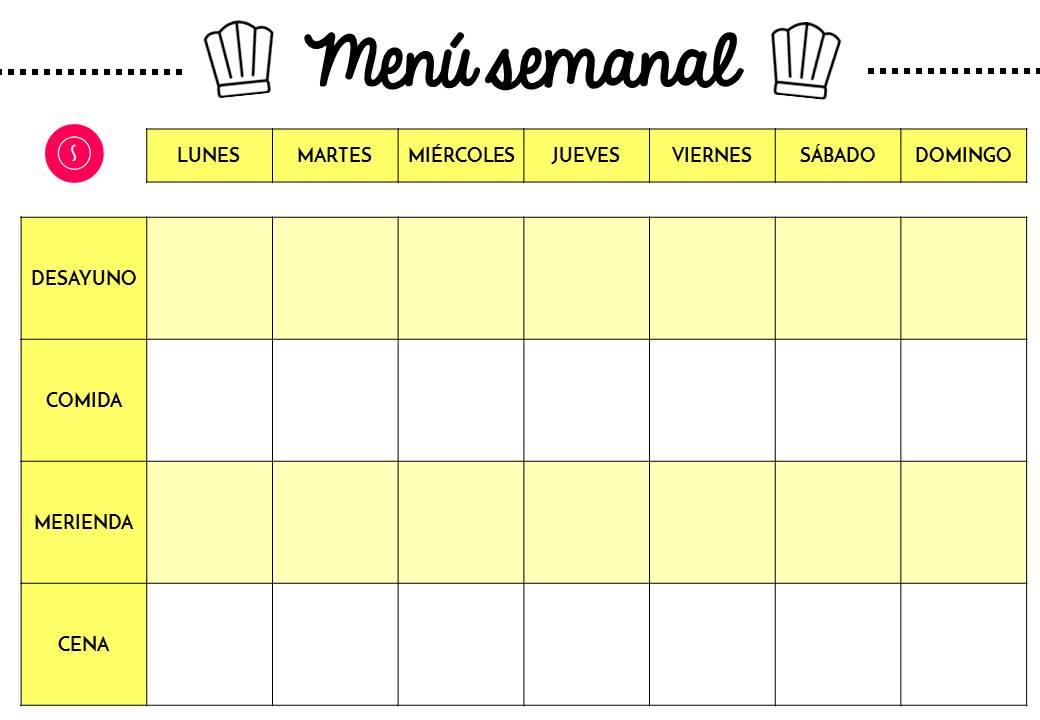 Planificador semanal de comidas - menú descargable gratuito ~ The ...