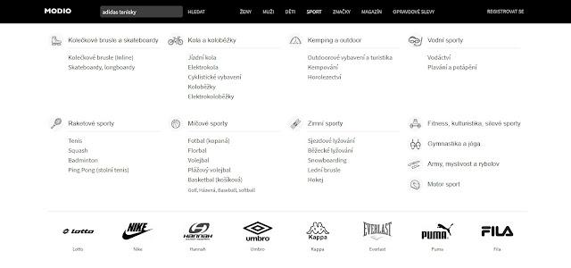V ponuke je niekoľko kategórií a zoznam značiek